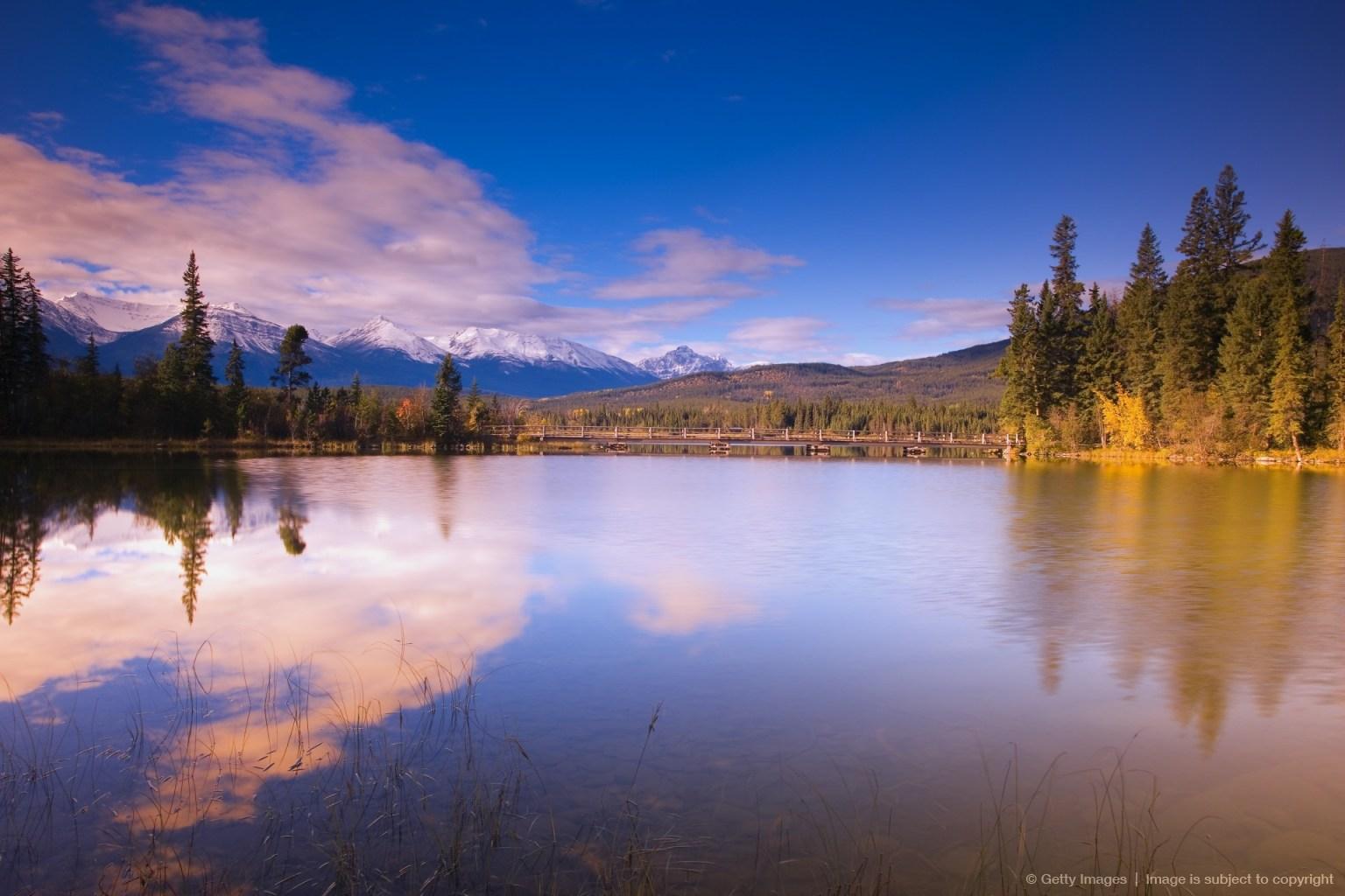 Footbridge Pyramid Lake Jasper National Park
